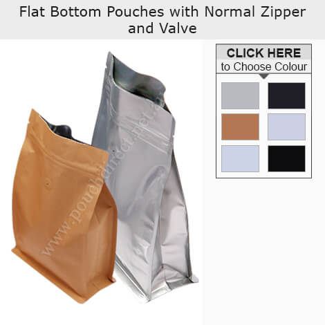 Flat Bottom Pouches With Normal Zipper and Valve