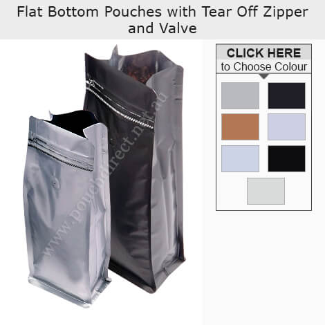 Flat Bottom Pouches With Tear Off Zipper and Valve