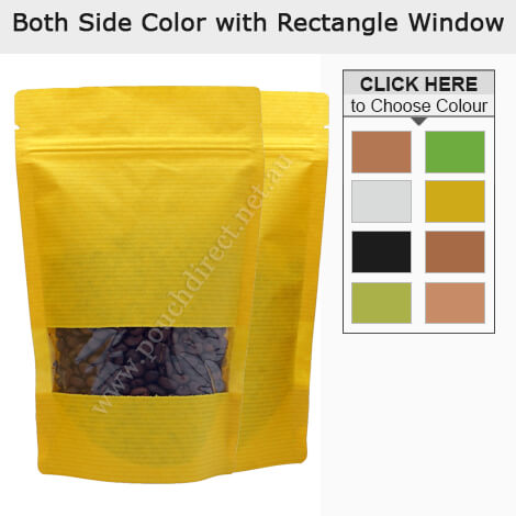 Kraft Paper Rectangle Window Stand Up Pouches