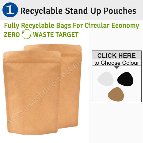 Recyclable Stand Up Pouches Regular Size