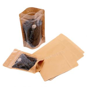 Clear / Brown Paper Stand Up Pouch With Valve