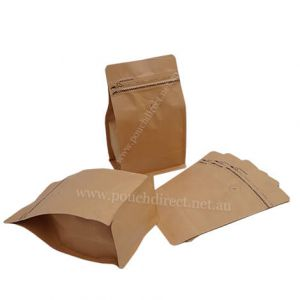 Flat Bottom Pouches Tear Off Zipper & Valve